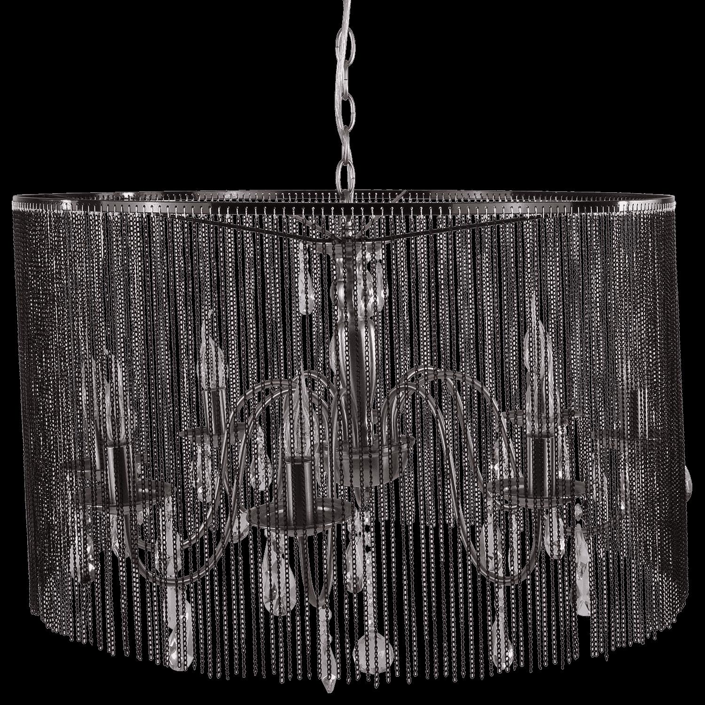 Hanglamp Merel 8 lichts + chain kap zwart