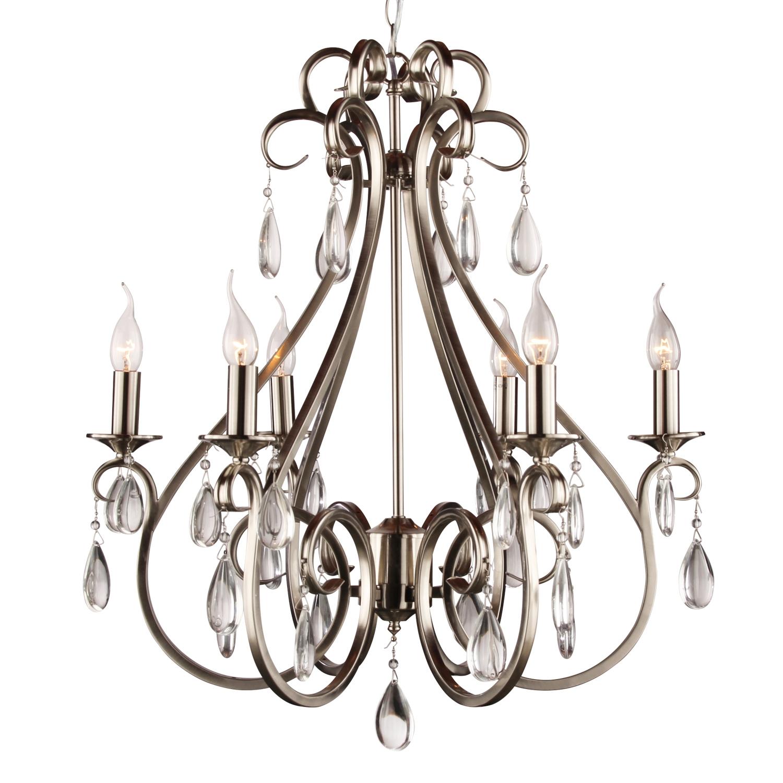 Hanglamp Milano 6 lichts + transparant kristal nickel satin