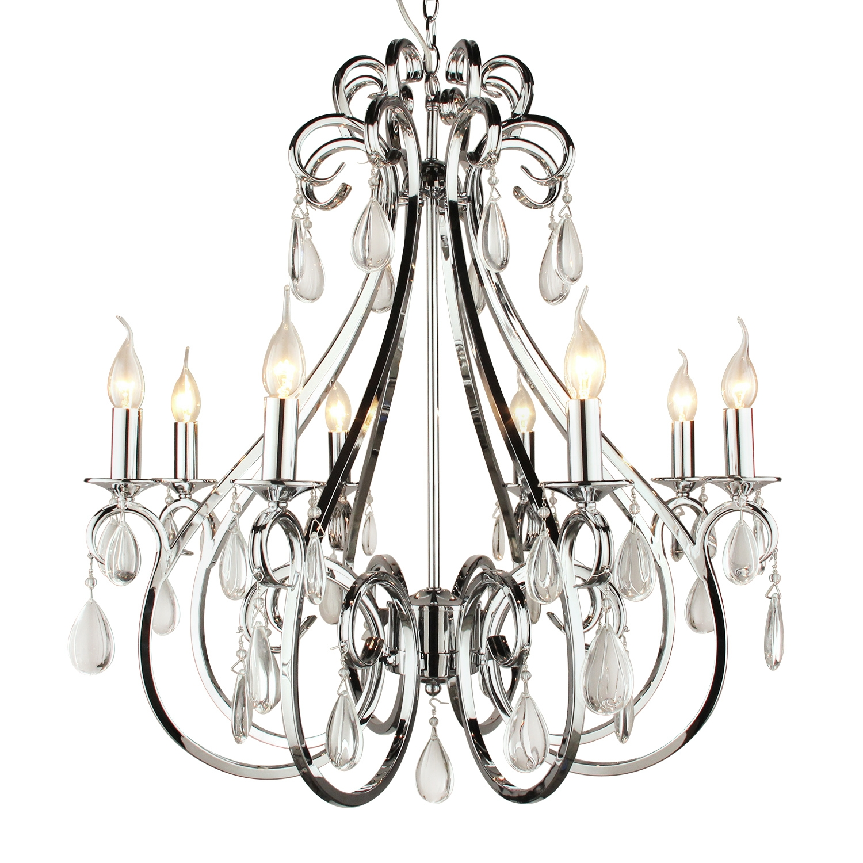 Hanglamp Milano 8 lichts rond + transparant kristal glans chroom