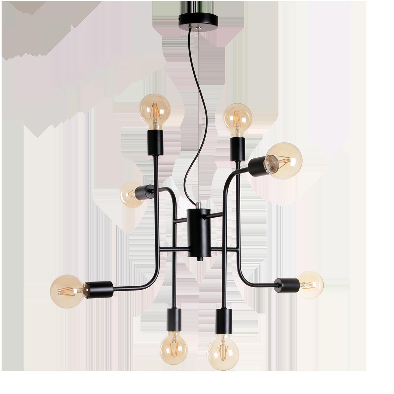 Hanglamp Bjorn 8 lichts zwart