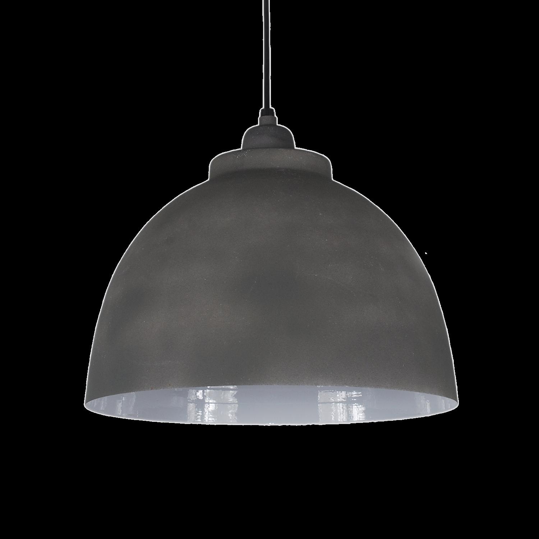 Hanglamp Capri 32 cm cement kleur +witte binnenzijde