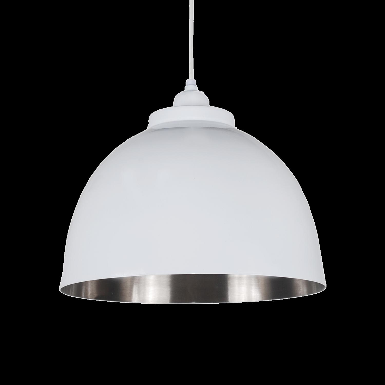 Hanglamp Capri 32 cm glans wit + mat nickel binnenzijde