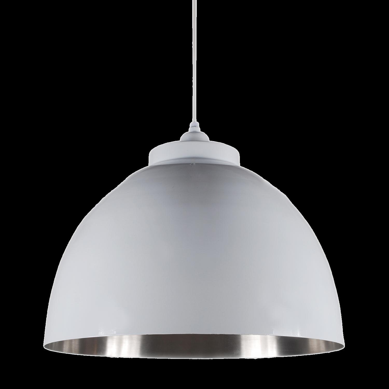 Hanglamp Capri 44 cm glans wit + mat nickel binnenzijde