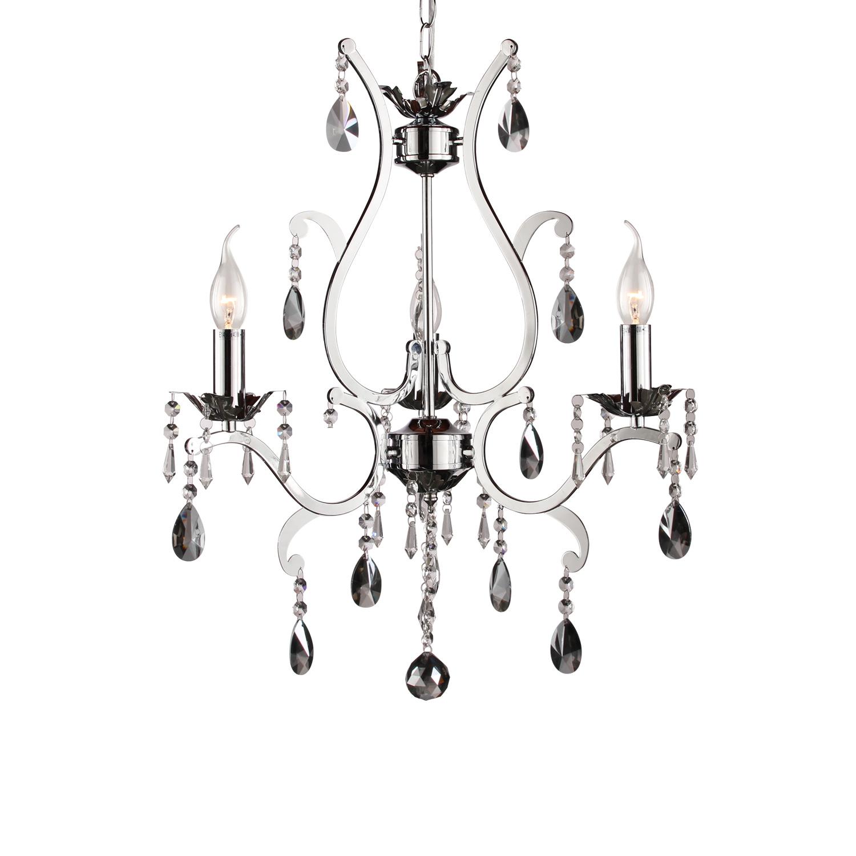 Hanglamp Feline 3 lichts + fume (grijs) kristal glans chroom