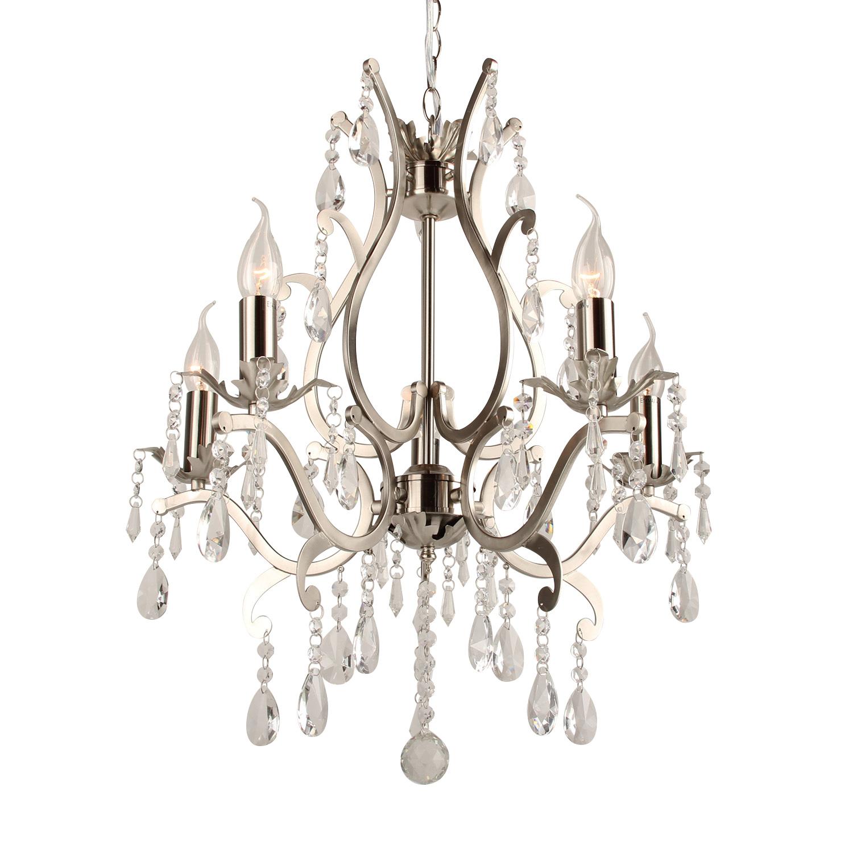Hanglamp Feline 5 lichts + transparant kristal nickel satin
