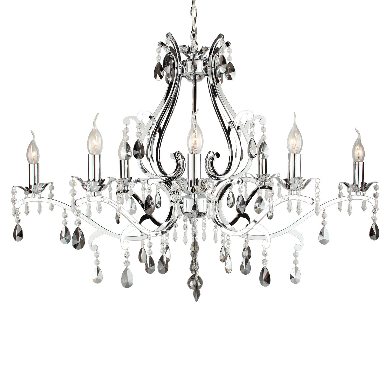 Hanglamp Feline 8 lichts ovaal + fume (grijs) kristal glans chroom