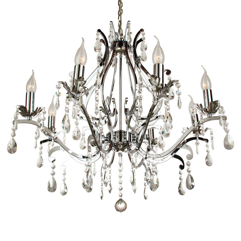 Hanglamp Feline 8 lichts rond + transparant kristal glans chroom