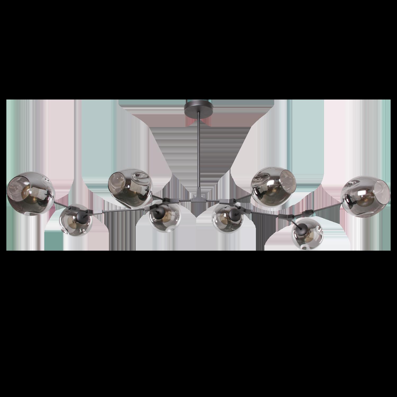 Hanglamp Laurenzo 8 lichts antraciet + fume glass