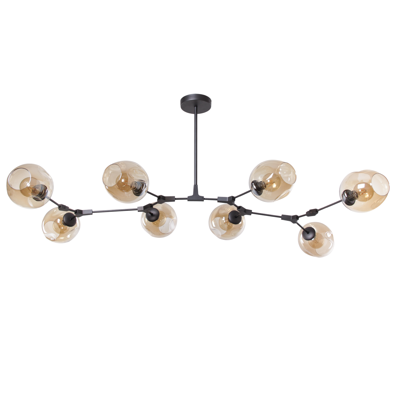 Hanglamp Laurenzo 8 lichts antraciet + gold glass