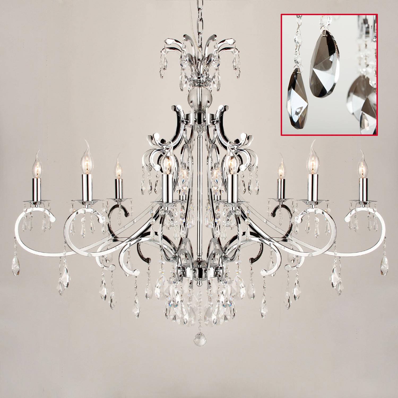 Hanglamp Luzia 10 lichts ovaal + pegel kristallen fume (grijs) glans chroom
