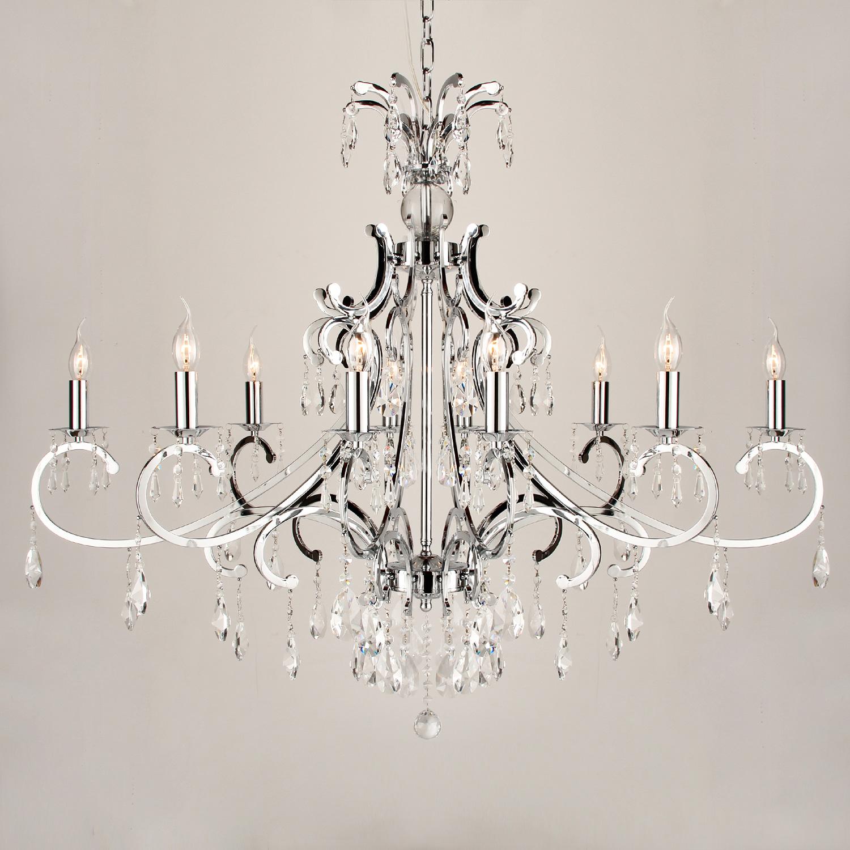 Hanglamp Luzia 10 lichts ovaal + pegel kristallen helder glans chroom