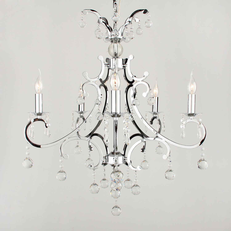 Hanglamp Luzia 5 lichts + bol kristallen helder glans chroom