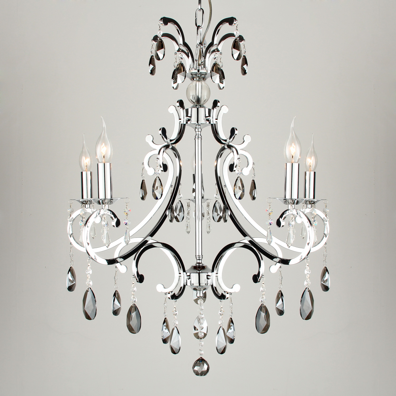 Hanglamp Luzia 5 lichts + pegel kristallen fume (grijs) glans chroom
