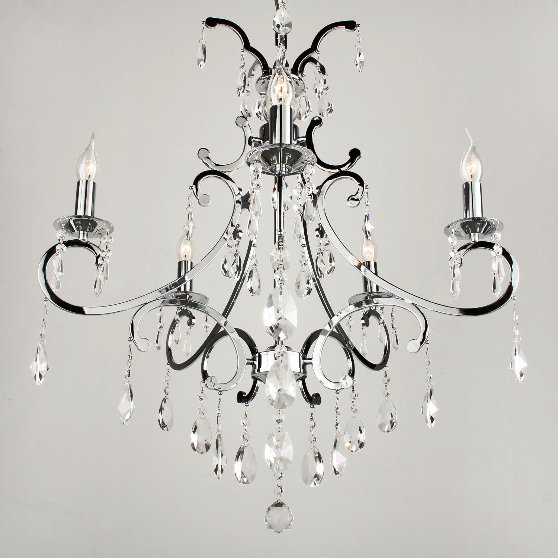Hanglamp Luzia 5 lichts + pegel kristallen helder glans chroom
