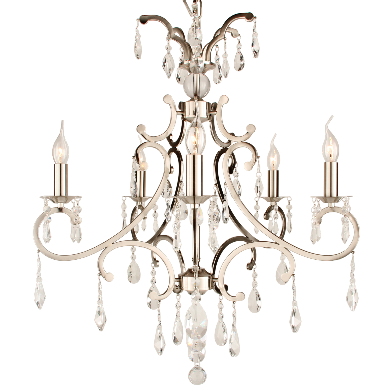 Hanglamp Luzia 5 lichts + pegel kristallen helder nickel satin