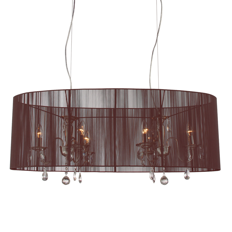 Hanglamp Merel 6 lichts + ovale donkerbruine kap