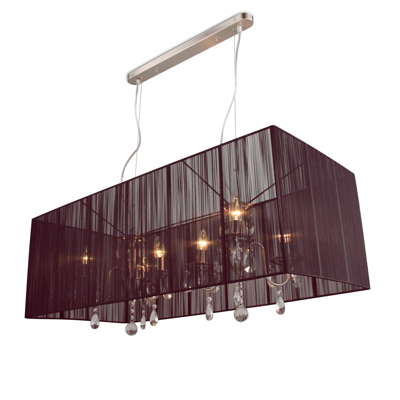 Hanglamp Merel 6 lichts + rechthoekige donkerbruine kap