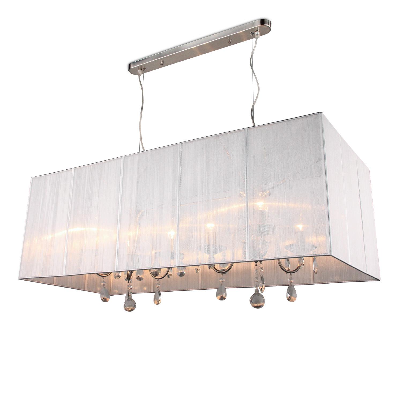Hanglamp Merel 6 lichts + rechthoekige grijze kap