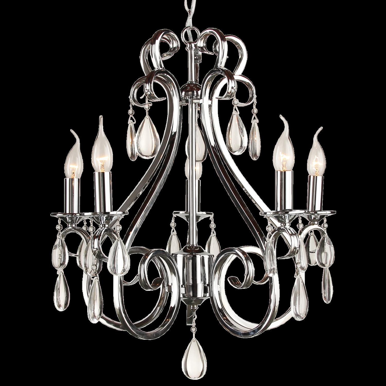 Hanglamp Milano 5 lichts + transparant kristal glans chroom