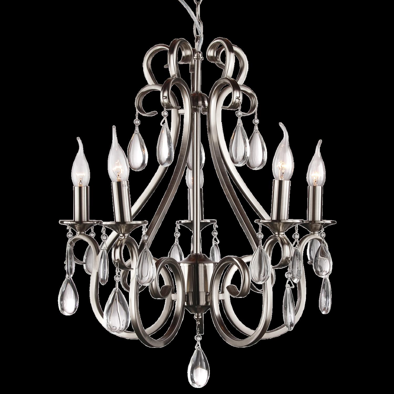 Hanglamp Milano 5 lichts + transparant kristal nickel satin