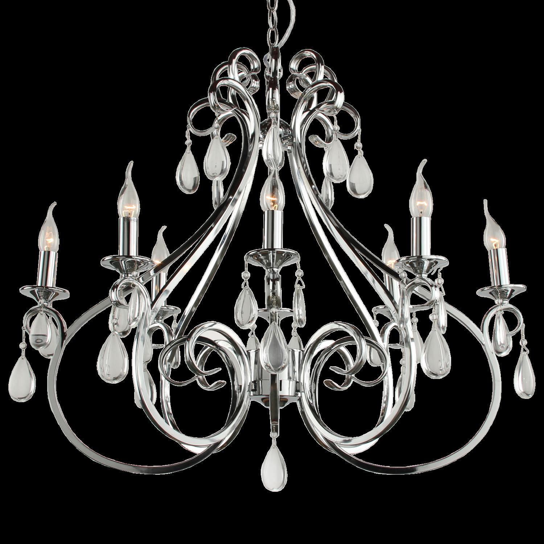 Hanglamp Milano 8 lichts ovaal + transparant kristal glans chroom