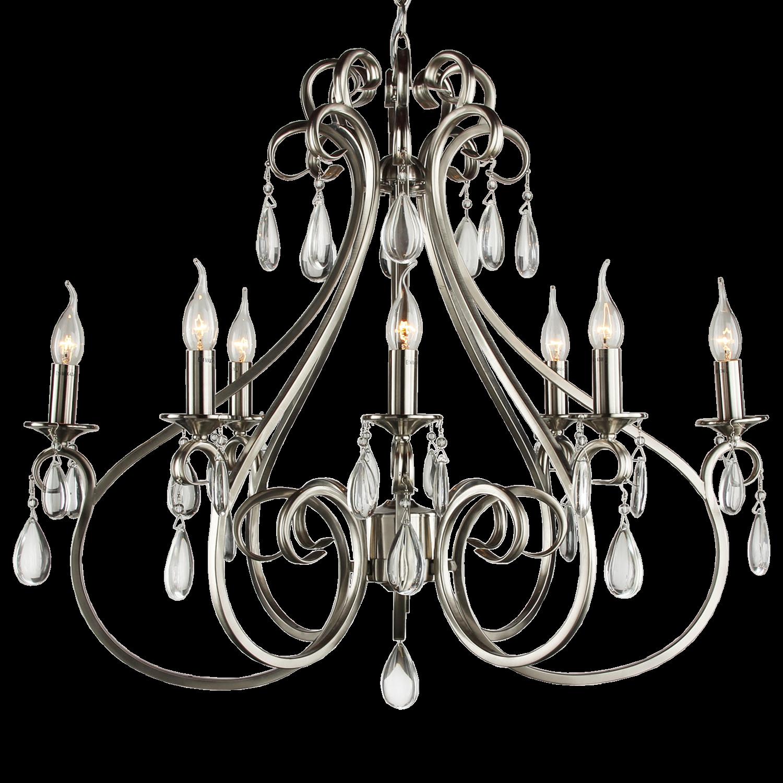 Hanglamp Milano 8 lichts ovaal + transparant kristal nickel satin