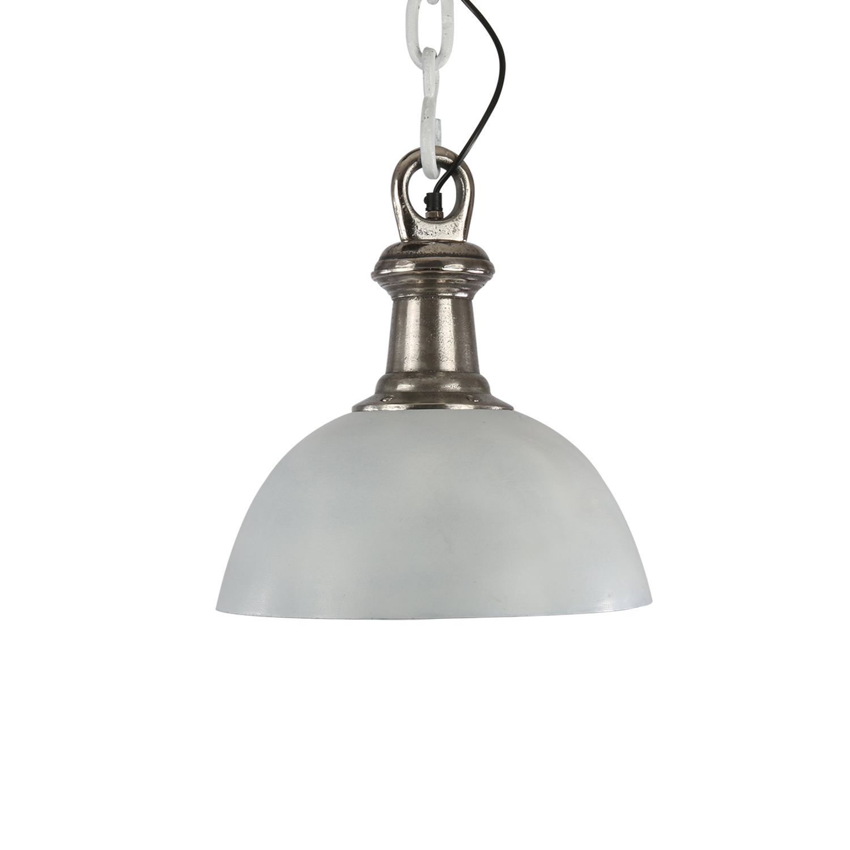 Hanglamp Sienna 35 cm wit + ruw nickel