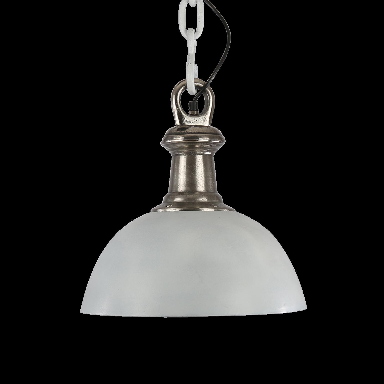 Hanglamp Sienna 46 cm wit + ruw nickel