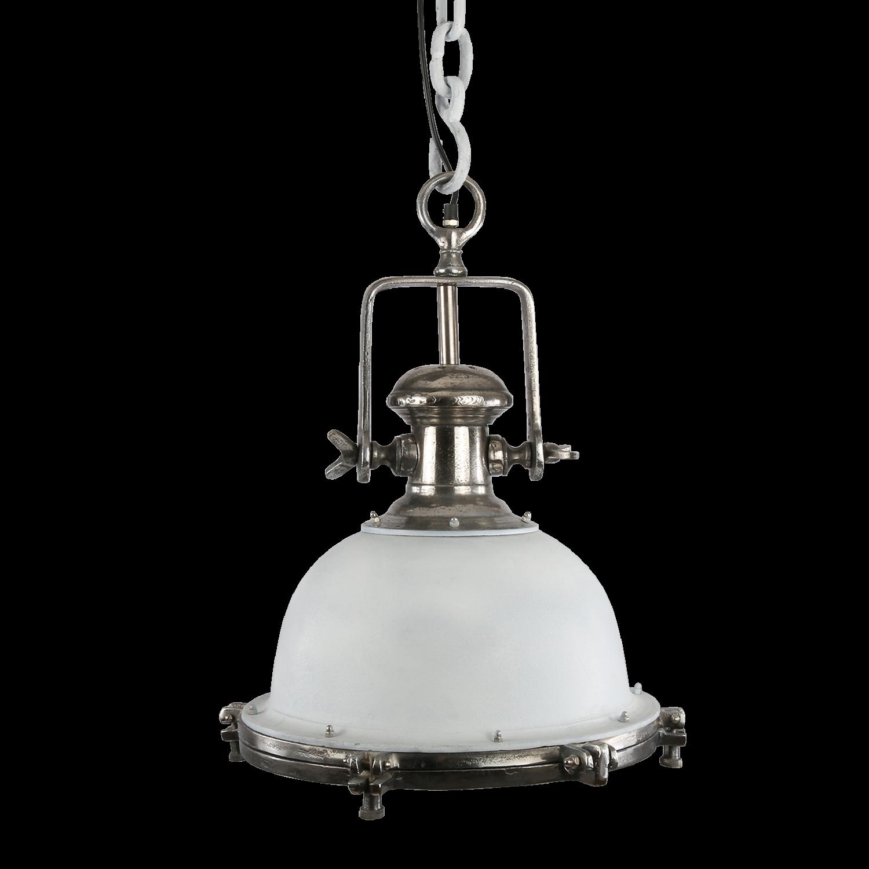 Hanglamp Toscane 40 cm wit + ruw nickel