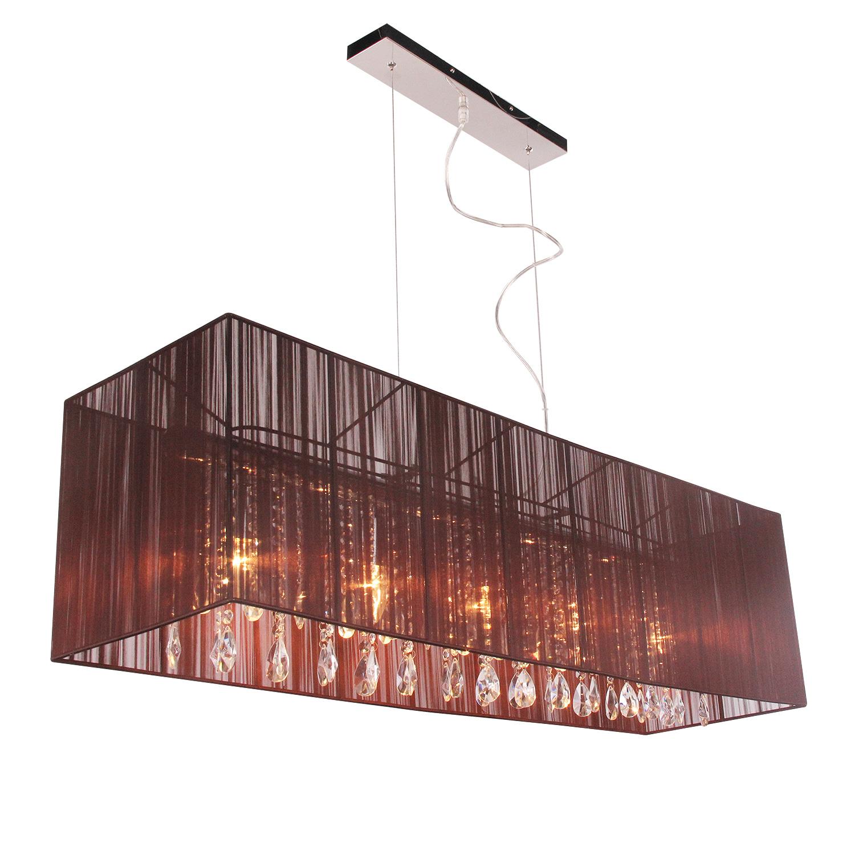 Hanglamp Venezia 5 lichts + rechthoekige donkerbruine kap
