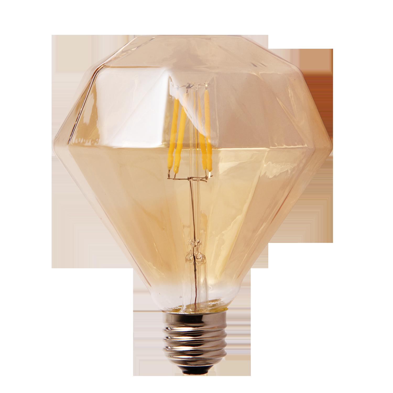 LED lamp filament diamond groot 4W goud