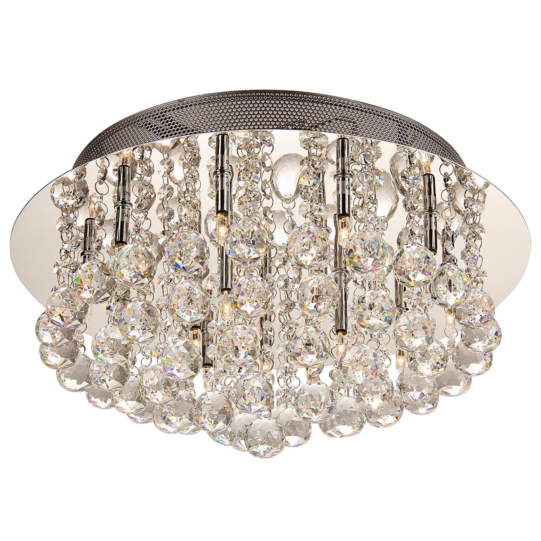 Plafoniere Global rond 50 cm kristal 20 lichts halogeen