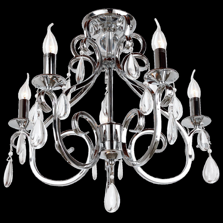 Plafoniere Milano 5 lichts + transparant kristal glans chroom