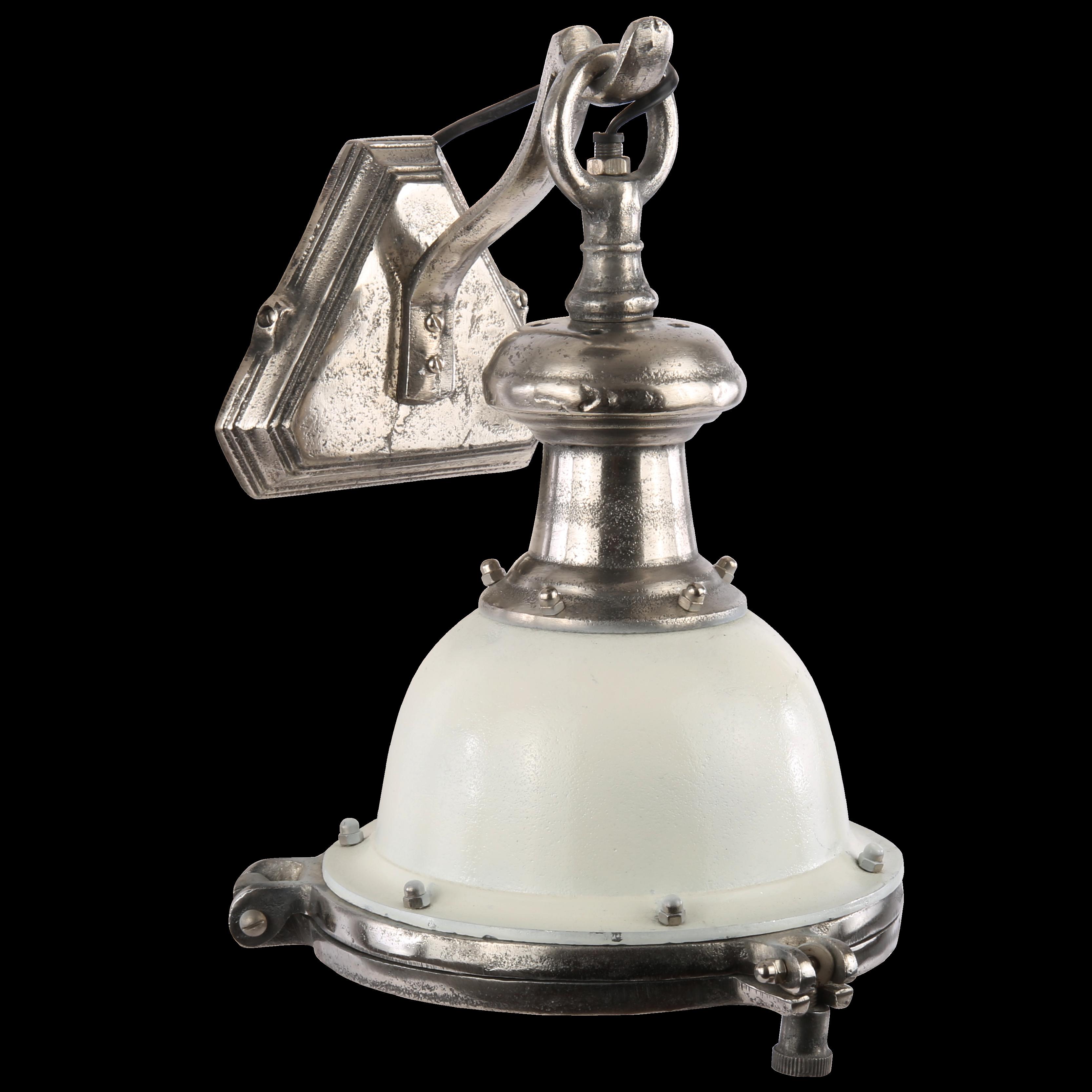 Wandlamp Lanzo wit met ruw nickel