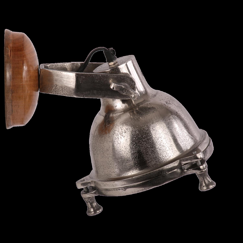 Wandlamp Rovigo ruw nickel + hout