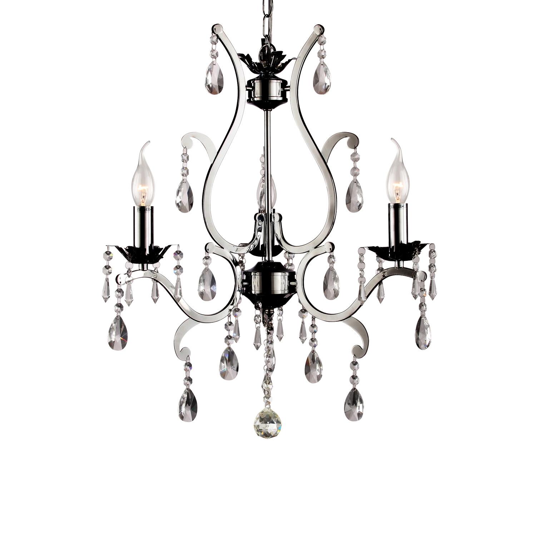 Hanglamp Feline 3 lichts + transparant kristal nickel satin