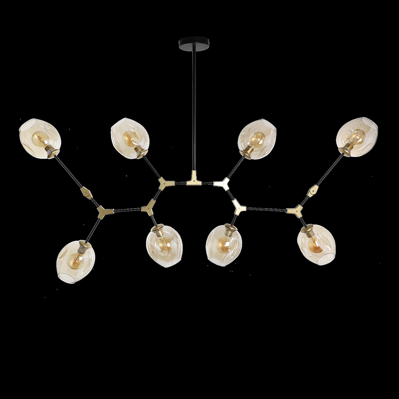 Hanglamp Laurenzo 8 lichts zwart met goud + amber glass