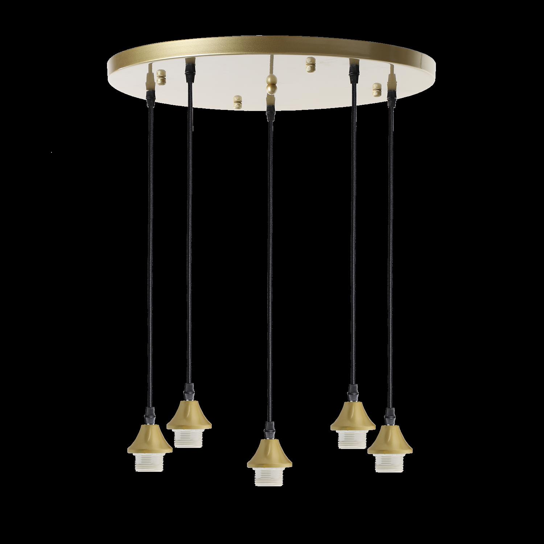 Hanglamp Vilmar rond 5 lichts goud