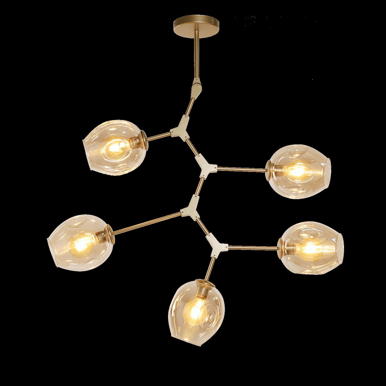 Hanglamp Laurenzo (D) 5 lichts goud + amber glas