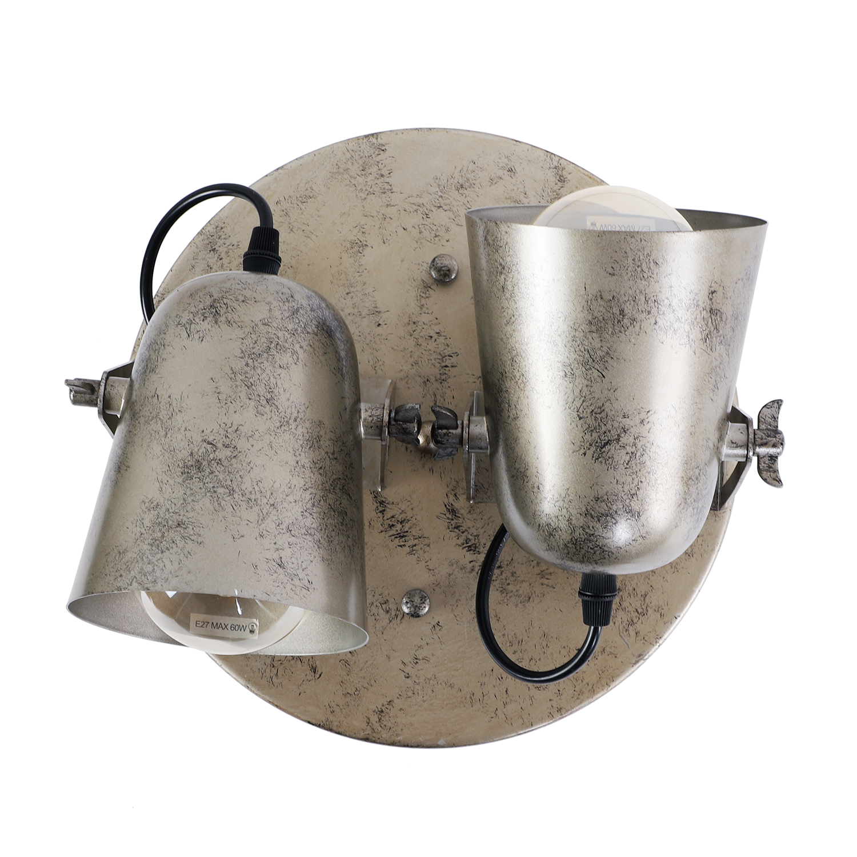 Wandlamp Rivera 2 lichts antiek zilver