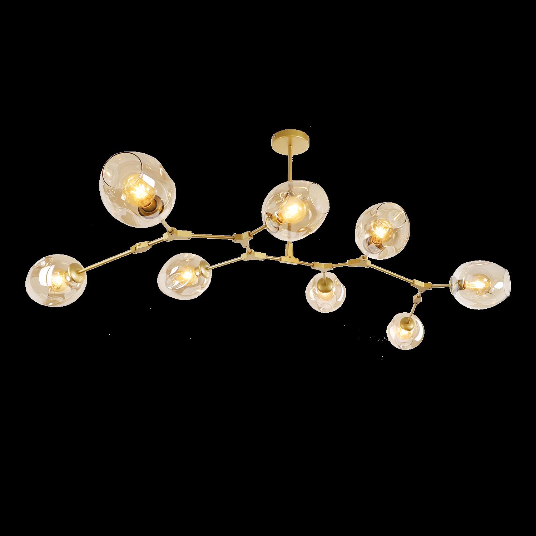 Hanglamp Laurenzo 8 lichts goud + amber glas
