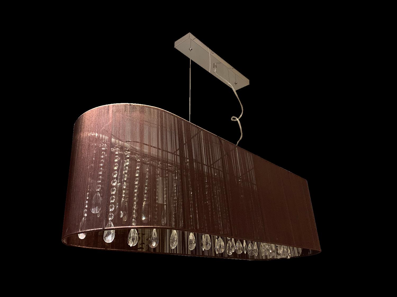 Hanglamp Venezia 5 lichts + ovale donkerbruine kap
