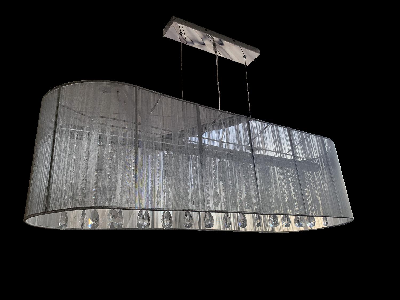 Hanglamp Venezia 5 lichts + ovale grijze kap